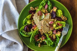 Chicken, bacon and beetroot salad